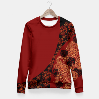 Thumbnail image of Japanese traditional flower emblem art red black plum Fitted Waist Sweater, Live Heroes