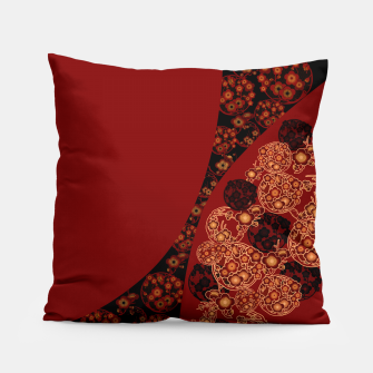 Thumbnail image of Japanese traditional flower emblem art red black plum Pillow, Live Heroes