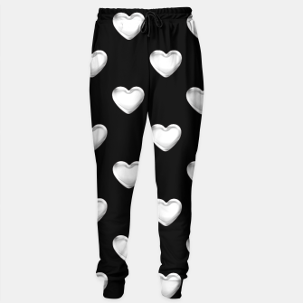 Miniatur Silver 3-D Look Hearts on a Black Background Sweatpants, Live Heroes