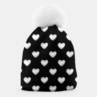 Miniatur Silver 3-D Look Hearts on a Black Background Beanie, Live Heroes