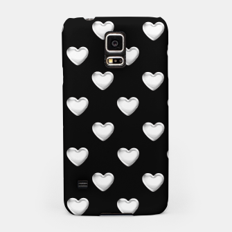 Miniatur Silver 3-D Look Hearts on a Black Background Samsung Case, Live Heroes