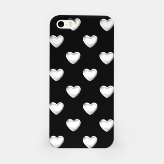 Miniatur Silver 3-D Look Hearts on a Black Background iPhone Case, Live Heroes