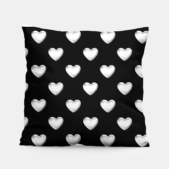 Miniatur Silver 3-D Look Hearts on a Black Background Pillow, Live Heroes