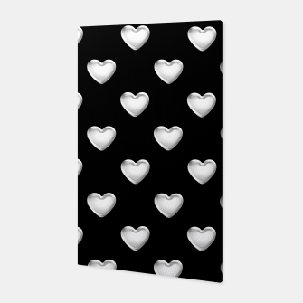 Miniatur Silver 3-D Look Hearts on a Black Background Canvas, Live Heroes