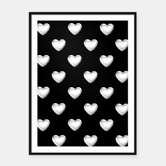 Miniatur Silver 3-D Look Hearts on a Black Background Framed poster, Live Heroes