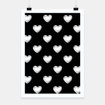 Miniatur Silver 3-D Look Hearts on a Black Background Poster, Live Heroes