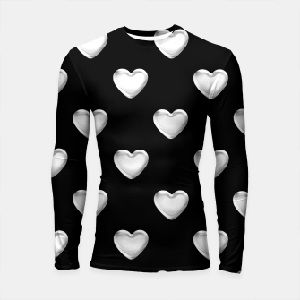 Miniatur Silver 3-D Look Hearts on a Black Background Longsleeve Rashguard , Live Heroes