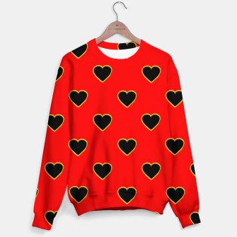 Miniatur Black Love Hearts on a Red Background Sweater, Live Heroes