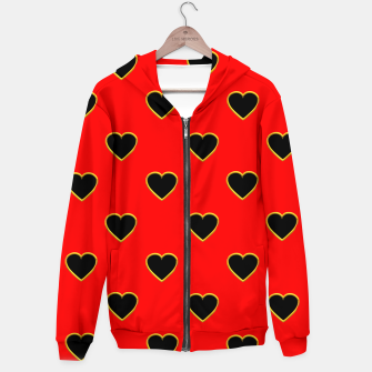 Miniatur Black Love Hearts on a Red Background Hoodie, Live Heroes