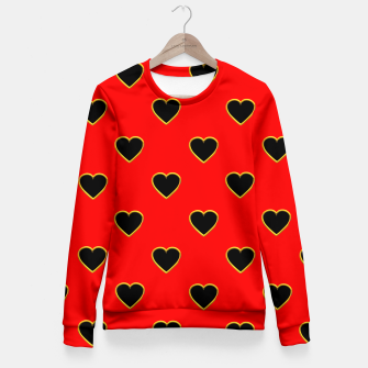 Miniatur Black Love Hearts on a Red Background Fitted Waist Sweater, Live Heroes