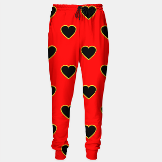 Miniatur Black Love Hearts on a Red Background Sweatpants, Live Heroes
