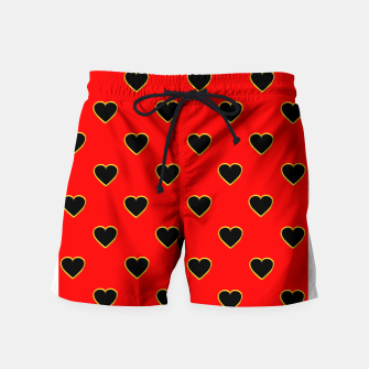 Miniatur Black Love Hearts on a Red Background Swim Shorts, Live Heroes