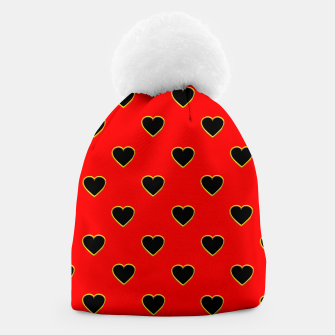 Miniatur Black Love Hearts on a Red Background Beanie, Live Heroes