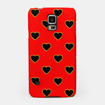 Miniatur Black Love Hearts on a Red Background Samsung Case, Live Heroes