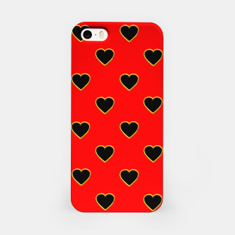 Miniatur Black Love Hearts on a Red Background iPhone Case, Live Heroes