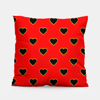 Miniatur Black Love Hearts on a Red Background Pillow, Live Heroes