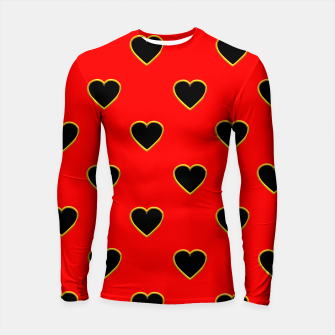 Miniatur Black Love Hearts on a Red Background Longsleeve Rashguard , Live Heroes