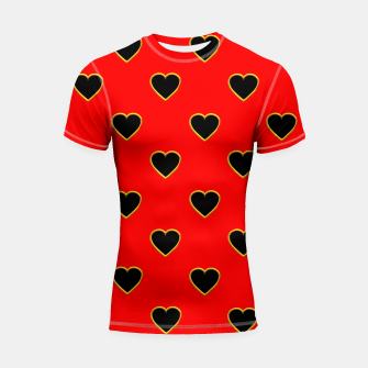 Miniatur Black Love Hearts on a Red Background Shortsleeve Rashguard, Live Heroes