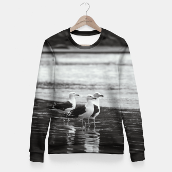 Miniatur Seagulls by the sea Fitted Waist Sweater, Live Heroes