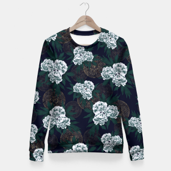 Miniatur Japanese style peony decoration with emblem art blue Fitted Waist Sweater, Live Heroes