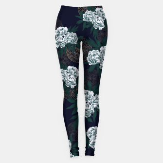 Miniaturka Japanese style peony decoration with emblem art blue Leggings, Live Heroes