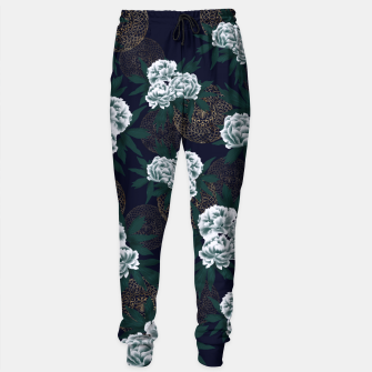 Miniaturka Japanese style peony decoration with emblem art blue Sweatpants, Live Heroes