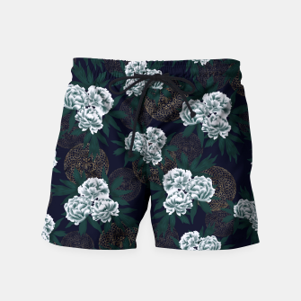 Miniaturka Japanese style peony decoration with emblem art blue Swim Shorts, Live Heroes