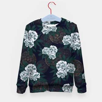 Miniaturka Japanese style peony decoration with emblem art blue Kid's Sweater, Live Heroes