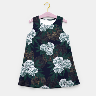 Miniaturka Japanese style peony decoration with emblem art blue Girl's Summer Dress, Live Heroes
