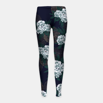 Miniaturka Japanese style peony decoration with emblem art blue Girl's Leggings, Live Heroes