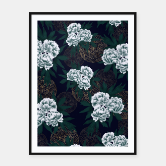 Miniaturka Japanese style peony decoration with emblem art blue Framed poster, Live Heroes