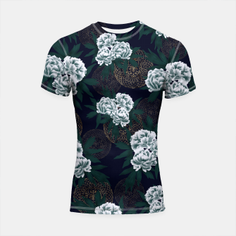 Miniaturka Japanese style peony decoration with emblem art blue Shortsleeve Rashguard, Live Heroes