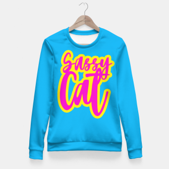 Miniatur Sassy Cat Blue (small) Fitted Sweatshirt, Live Heroes