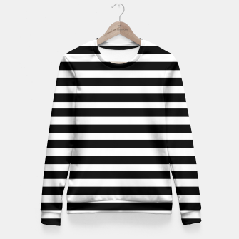 Miniatur Black Stripes seamless pattern Fitted Waist Sweater, Live Heroes