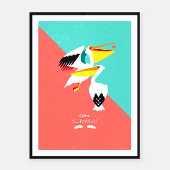 Miniatur Cool summer pelicans Framed poster, Live Heroes