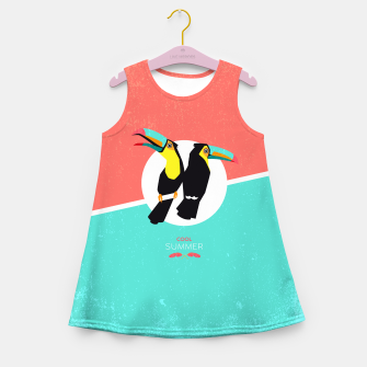 Miniaturka Cool summer toucans Girl's Summer Dress, Live Heroes