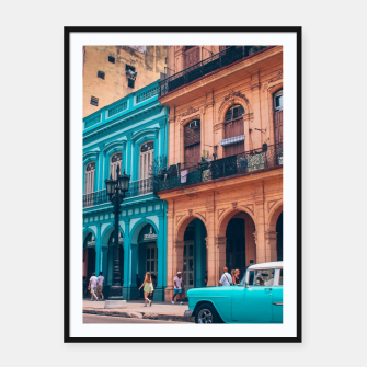 Miniaturka Vintage Cuban colorful building and cars Framed poster, Live Heroes