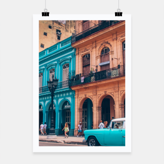 Miniaturka Vintage Cuban colorful building and cars Poster, Live Heroes