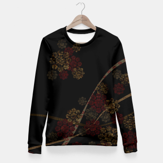 Thumbnail image of Japanese emblem art cherry blossoms black red Fitted Waist Sweater, Live Heroes