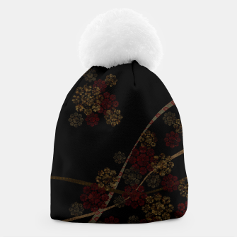 Thumbnail image of Japanese emblem art cherry blossoms black red Beanie, Live Heroes