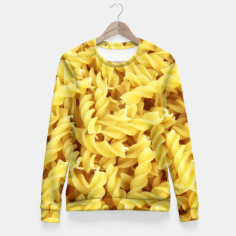 Thumbnail image of Yellow spiral pasta pattern Fitted Waist Sweater, Live Heroes