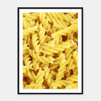 Thumbnail image of Yellow spiral pasta pattern Framed poster, Live Heroes
