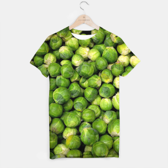 Thumbnail image of Green Brussels sprout vegetable pattern T-shirt, Live Heroes