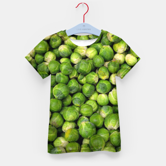 Thumbnail image of Green Brussels sprout vegetable pattern Kid's T-shirt, Live Heroes