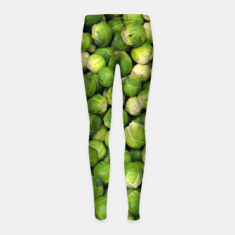 Thumbnail image of Green Brussels sprout vegetable pattern Girl's Leggings, Live Heroes