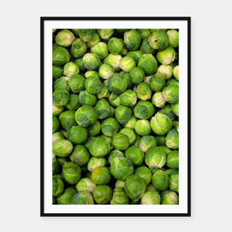 Thumbnail image of Green Brussels sprout vegetable pattern Framed poster, Live Heroes