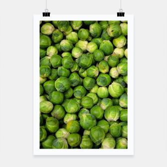 Thumbnail image of Green Brussels sprout vegetable pattern Poster, Live Heroes