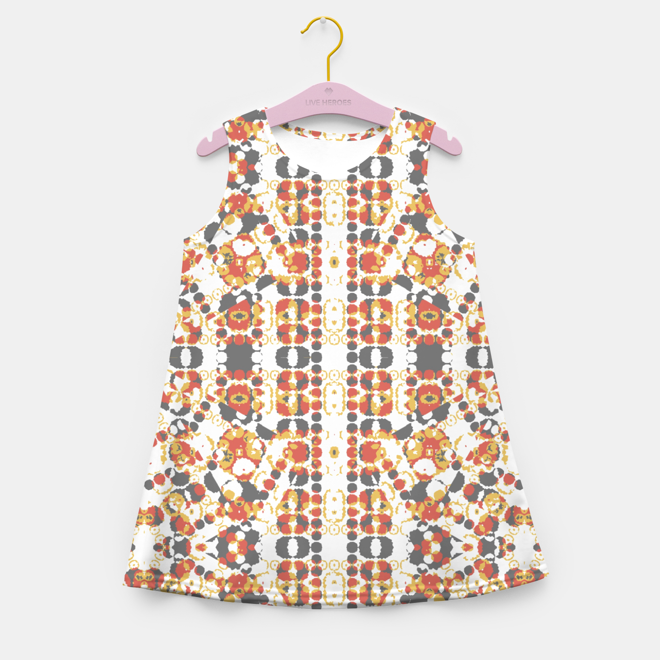 Image of Multicolored Geometric Pattern  Girl's Summer Dress - Live Heroes