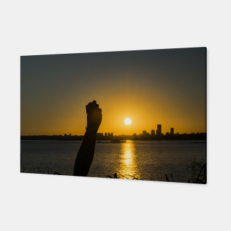 Thumbnail image of Sunset Cityscape Scene, Montevideo, Uruguay Canvas, Live Heroes