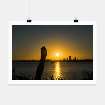Thumbnail image of Sunset Cityscape Scene, Montevideo, Uruguay Poster, Live Heroes